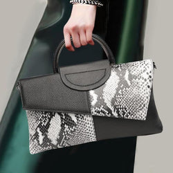 Snake Texture Genuine Leather Top Handle Clutch Bag 4823