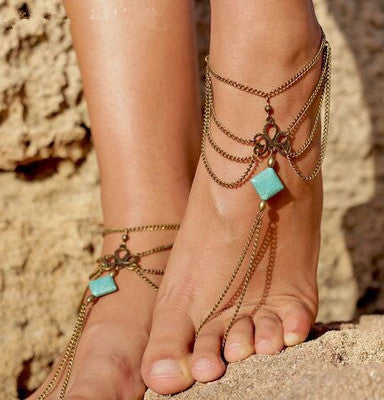 Ankle Bracelet Bohemian Foot Jewelry Turquoise for Women (pair) - Flashy Feet