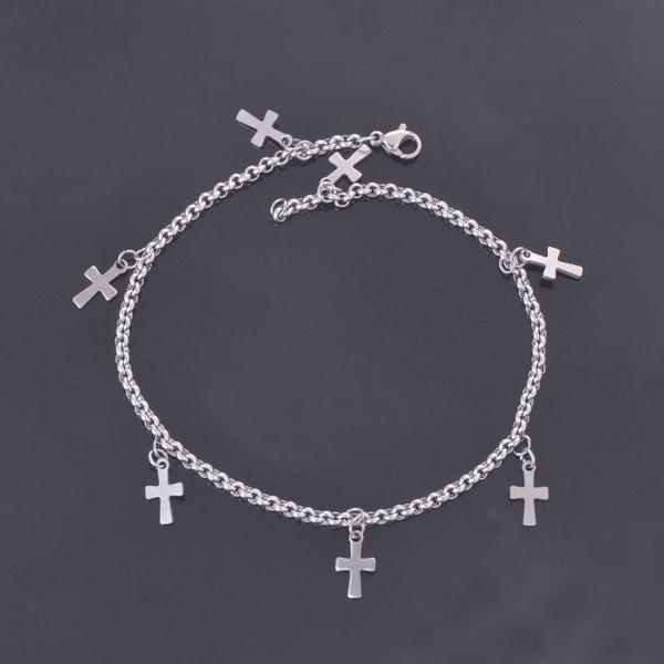 Classic Fashion Stainless Steel Cross Pendant Accessories Foot Bracelets - Flashy Feet