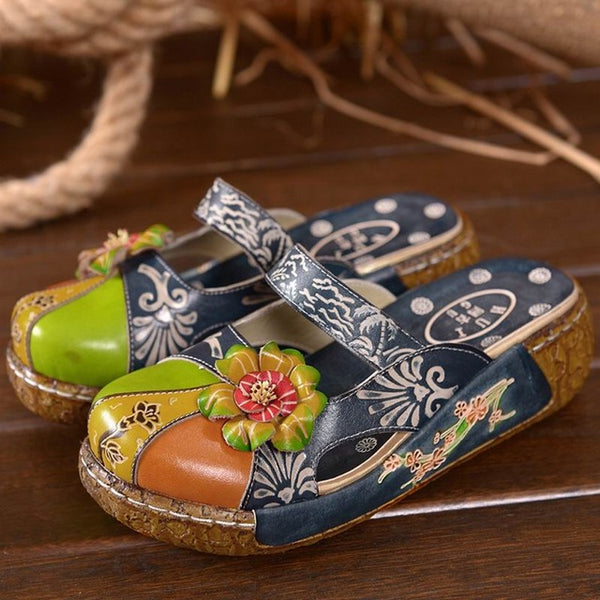 Closed Toe Flower Ethnic Style Handmade Genuine Leather Shoes (PAIR)