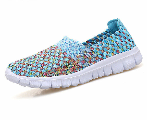 Flats flip flops women breathable woven mesh shoes
