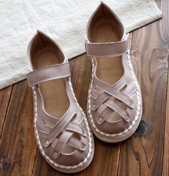 Genuine Leather Sandals,pure handmade white shoes (ORDER TWO TO MAKE A PAIR)