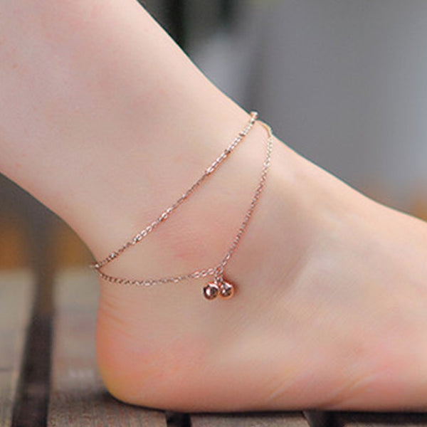 Rose Gold Plated Bell Anklets For Women - Flashy Feet