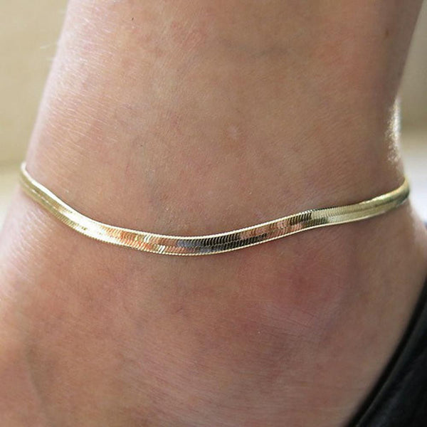 Jewelry gold chain anklet, Herringbone adjustable charm anklet - Flashy Feet