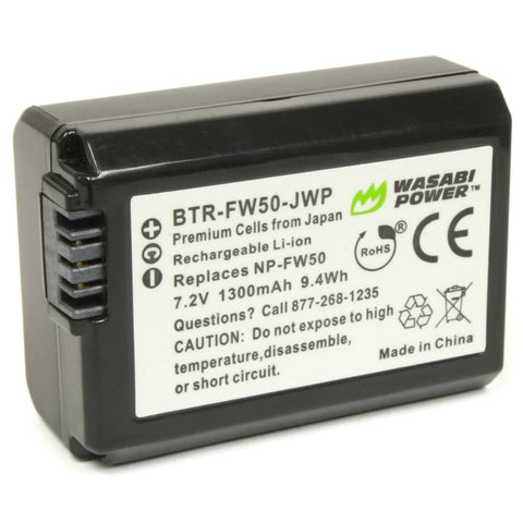 Wasabi Power Battery for Sony NP-FW50 (Compatible with Alpha a7, a7 II, a7R, a7R II, a7S, a7S II, a5000, a5100, a6000, a6300, a6500, NEX-5T, Cyber-shot DSC-RX10 III and more