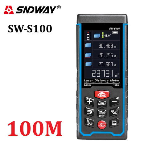 SNDWAY SW-S100 100m Meters Laser Distance Meter Color Display High-Precision Laser Rangefinder