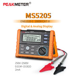 PeakMeter MS5205 Analog and Digital 2500V Insulation Resistance Tester megger meter 0.01~100G Ohm with Multimeter