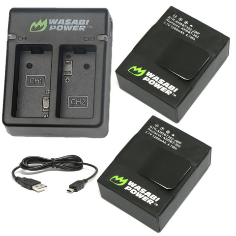 Wasabi Power Battery for GoPro Hero3, Hero3+ (2-Pack) and Dual Charger (includes USB cable) and for GoPro AHDBT-201, AHDBT-301, AHDBT-302, AHBBP-301