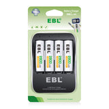 EBL EB-P62018112 2 Hour Quick Charger with 4 Pack NiMH AA Rechargeable Batteries, AA/AAA Battery Charger with USB-C and Micro Charging Port