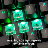 HyperX HX-KB6AQX-US Alloy Mechanical Gaming Keyboard, Software-Controlled Light & Macro Customization, Compact Form Factor, RGB LED Backlit - Tactile HyperX Aqua Switch