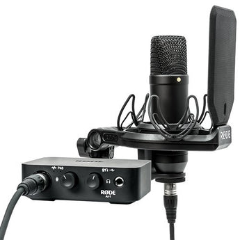 Rode NT1 Complete Studio Kit with AI-1 Audio Interface, NT1 Microphone, SMR Shockmount, and Cables
