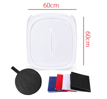 Pxel LT60 60x60cm Photo Soft Box Photography Light Tent Cube Softbox for Camera Studio Product Photography with 4 Backdrops