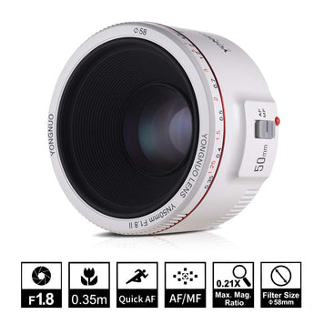 Yongnuo 50MM YN50MM II Version 2 50mm f/1.8 White Body Prime Lens for Canon EF Auto Focus
