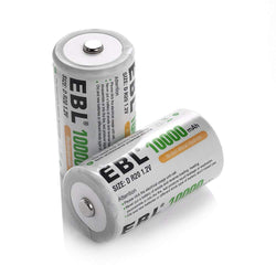 EBL D Size Rechargeable Batteries D Cell 10000mah NiMH Battery, 2 Counts with Case