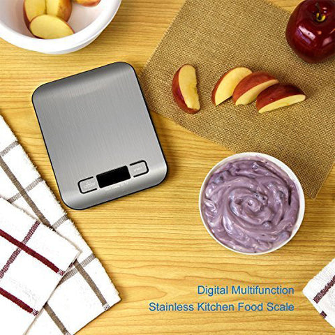 Digital Kitchen Scale Multifunction Food Scale 10kg Silver, Stainless Steel