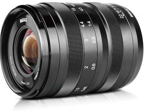 Meike 25mm f/2.0 Low Distortion Manual Focus Lens for Sony APS-C Frame Mirrorless Cameras