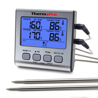 ThermoPro TP17 Dual Probe Digital Cooking Meat Large LCD Backlight Food Grill Thermometer with Timer Mode for Smoker Kitchen Oven BBQ