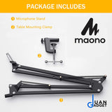 Maono AU-B01 B01 Microphone Suspension Adjustable Boom Scissor Arm Stand, Black