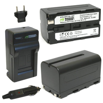 Wasabi Power Battery F750 (2-Pack) and Charger for Sony NP-F730, NP-F750, NP-F760 and NP-F770