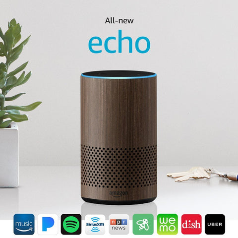 All New Amazon Echo 2nd Generation 2017 Walnut with improved sound powered by Dolby