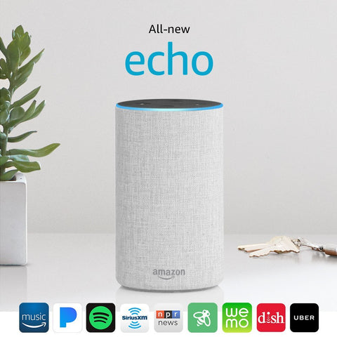 All New Amazon Echo 2nd Generation 2017 Sandstone with improved sound powered by Dolby