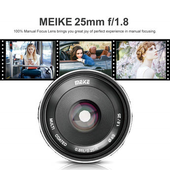 Meike MK-25mm 25mm F1.8 Large Aperture Manual Focus Prime Lens Fuji X-Mount Mirrorless Cameras