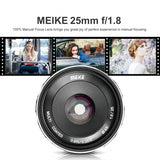 Meike MK-25mm 25mm f/1.8 Large Aperture Wide Angle Lens Manual Focus Lens for Sony Mirrorless Emount Cameras