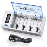 EBL Smart Battery Charger for C D AA AAA 9V Ni-MH Ni-CD Rechargeable Batteries with Discharge Function & LCD Display