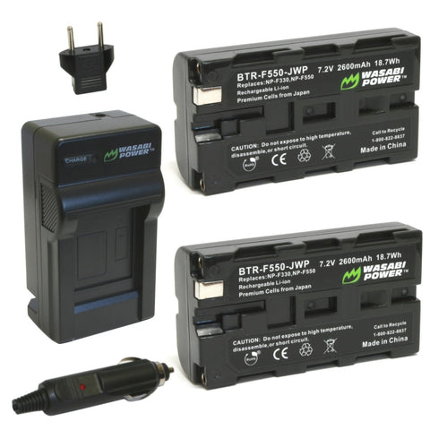 Wasabi Power Battery F550 (2-Pack) and Charger for Sony NP-F330, NP-F530, NP-F550, NP-F570 and CN-160, CN-216, CN126 Series