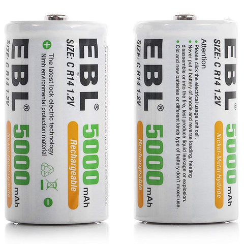 EBL C Size C Cell 5000mAh Ni-MH Rechargeable Batteries, Pack of 2 with Case