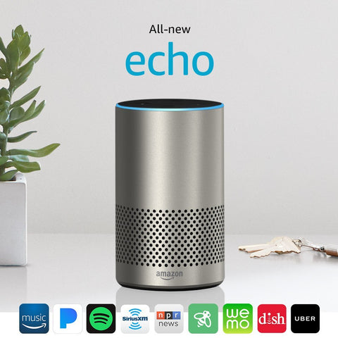 All New Amazon Echo 2nd Generation 2017 Silver with improved sound powered by Dolby
