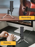 Maono AU-461 USB Condenser Cardioid Microphone for Podcasting Livestream Vlog with Mini Stand