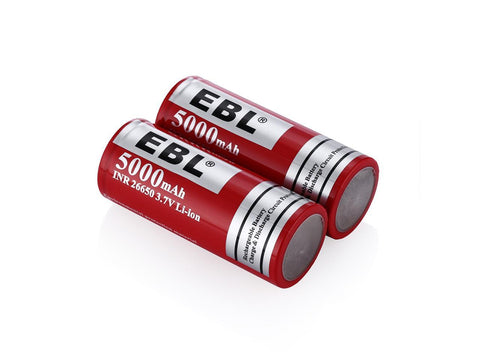 EBL 26650 3.7V Lithium Battery 5000mAh Rechargeable Battery