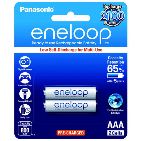 Panasonic Eneloop BK-4MCCE-2BT Rechargeable Battery AAA Pack of 2 (White)