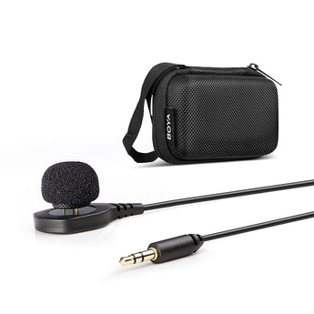 BOYA BY-HLM1 Wearable Pin Microphone Omnidirection Conderser Lavalier Mic 3.5mm Plug for Canon Nikon Sony Panasonic DSLR Camera