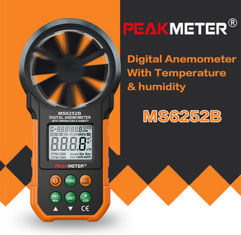 PEAKMETER PM6252B Digital Anemometer Air Speed Velocity Air Flow Meter with Air Temperature Humidity RH USB Port