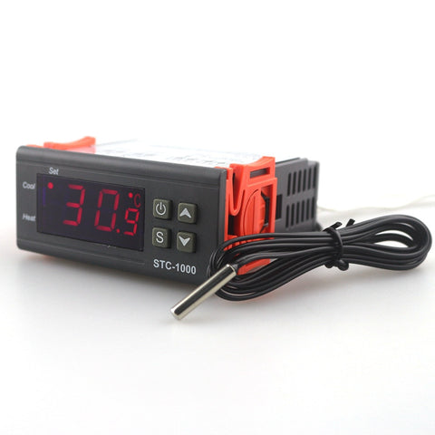 STC-1000 220V -50~110 Celsius Digital Temperature Controller LCD Display Thermostat Relay w/ Sensor Incubator
