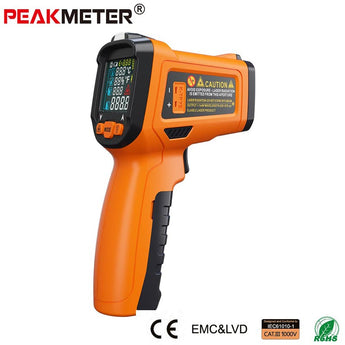 PeakMeter PM6530D Display Handheld Infrared Thermometer with Humidity & Dew IRT K-type LCD Temperature Controller -50-800Deg.C