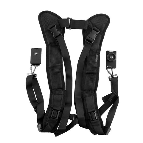 Pxel AA-CS2 Black Double Quick Rapid Camera Shoulder Neck Strap Belt Sling for Canon Nikon Sony Pentax Olympus Panasonic DSLR