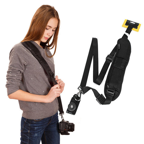 Pxel AA-CS1 Black Single Quick Rapid Camera Shoulder Neck Strap Belt Sling for Canon Nikon Sony Pentax Olympus Panasonic DSLR