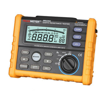 PeakMeter MS2302 Digital Earth & Ground Resistance Tester Megger 0ohm ~4K ohm 100 Groups Data Logging with Backlit
