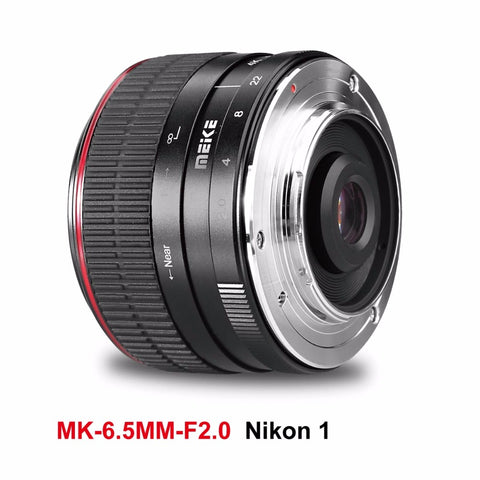 Meike MK-6.5mm 6.5mm Manual Focus Ultra Wide f/2.0 Fisheye Lens for Nikon Mirorrless Camera