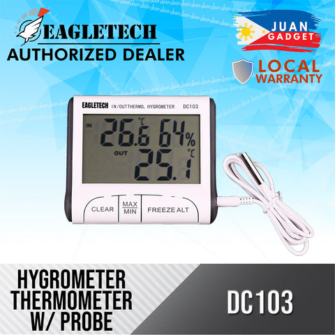 Eagletech DC103 Digital LCD Temperature Humidity Meter Clock Hygrometer Thermometer Indoor and Outdoor