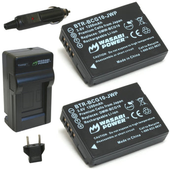 Wasabi Power Battery BCG10 (2-Pack) and Charger for Panasonic DMW-BCG10, DMW-BCG10E, DMW-BCG10PP and Panasonic Lumix