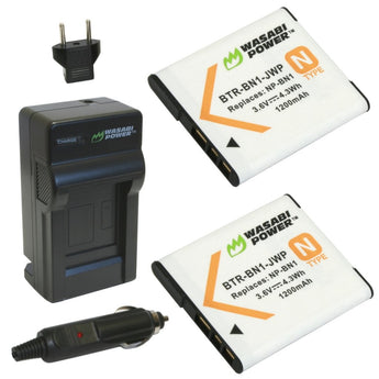 Wasabi Power Battery NP-BN1 (2-Pack) BN1 and Charger for Sony Cyber-shot