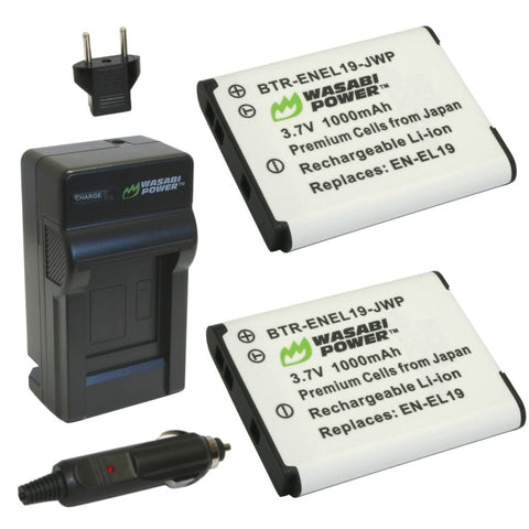 Wasabi Power Battery EN-EL19 (2-Pack) EL19 and Charger for Nikon EN-EL19