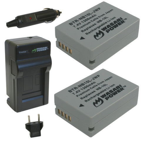 Wasabi Power Battery 10L NB-10L (2-Pack) and Charger for Canon CB-2LC and Canon PowerShot G1 X, G3 X, G15, G16, SX40 HS, SX50 HS, SX60 HS