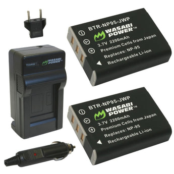 Wasabi Power Battery NP-95 NP95 (2-Pack) and Charger for Fujifilm and Fuji FinePix REAL 3D W1, X100, X100S, X-S1