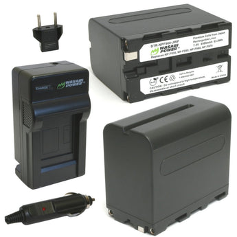 Wasabi Power Battery F960 (2-Pack) and Charger for Sony NP-F975, NP-F970, NP-F960, NP-F950