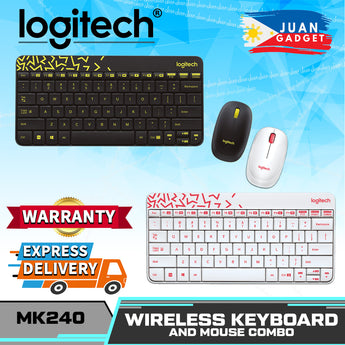 Logitech MK240 NANO Mouse and Keyboard Combo, Black, White